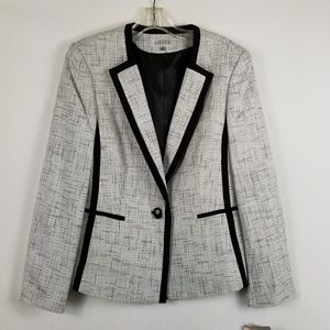 Kasper Blazer Jacket Black Gray Silver Ivory Tweed